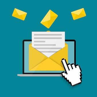 Neue e-mail auf dem laptop-bildschirm benachrichtigungskonzept. illustration