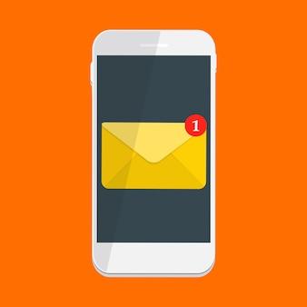 Neue e-mail auf dem smartphone-benachrichtigungskonzept. illustration