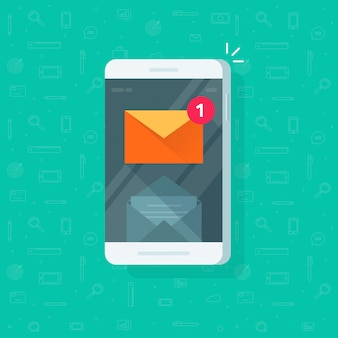 Neue e-mail-benachrichtigung an der flachen karikatur der handy- oder mobiltelefonillustration