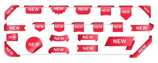 Neue etiketten und kollektion rote neue aufkleber.