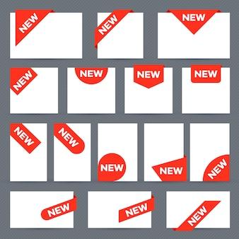 Neue farbbandetiketten. eckbanner, neues etikettenetikett und geschenkknopfsatz