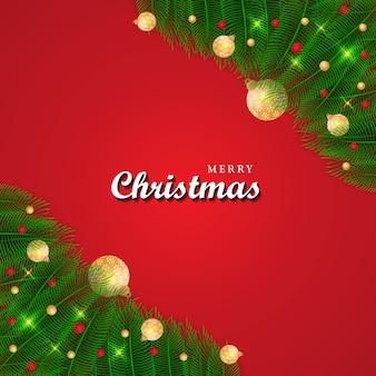 Neue frohe weihnachten neujahr moderner hintergrund festliche glaskugel-winterprüfungen