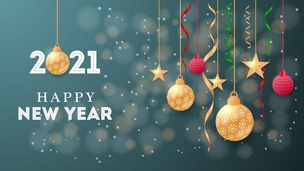Neue frohe weihnachten neujahrshintergrund festliche glaskugel-winterprüfungen