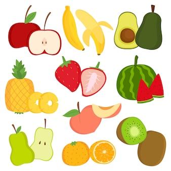 Neue früchte und fruchtscheibenkarikatur-vektorsatz