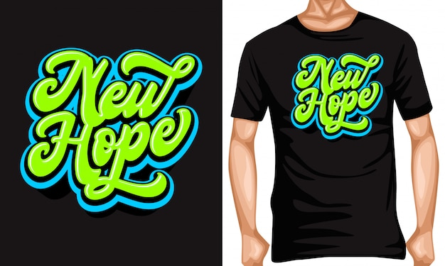 Neue hoffnung schriftzug typografie zitate