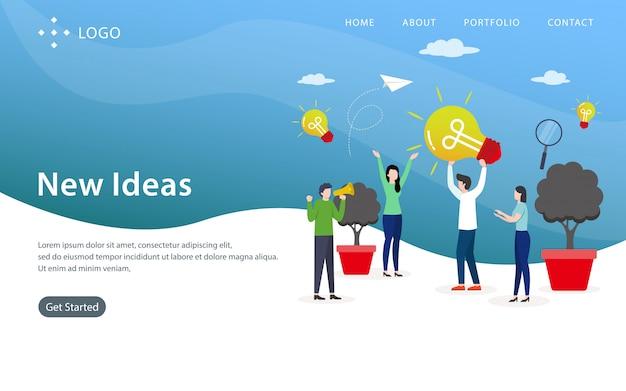Neue ideen-landing page, website-schablone, einfach zu redigieren und besonders anzufertigen, vektorillustration