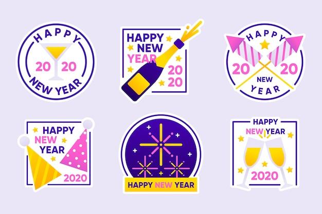 Neue jahr-2020-etikettenkollektion im flachen design