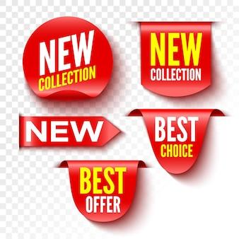 Neue kollektion, beste wahl und angebot banner. rote verkaufsetiketten. aufkleber.