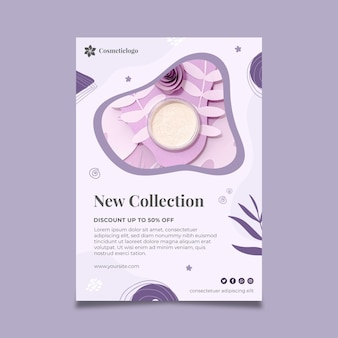 Neue kollektion kosmetischer vertikaler flyer