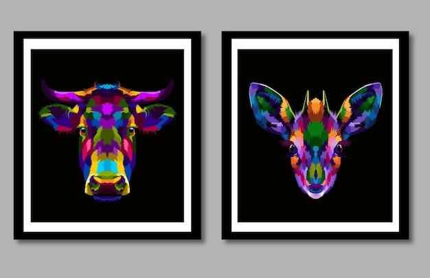 Neue kollektion kuh- und hirsch-pop-art-porträt im rahmen