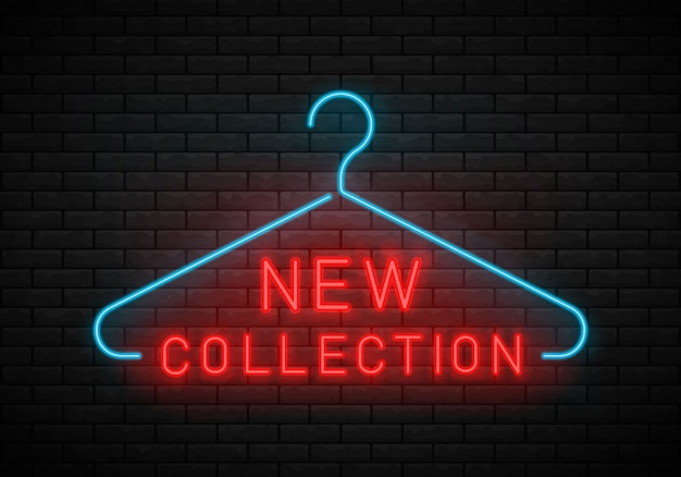 Neue kollektion leuchtreklame. kleiderbügel, neuankömmling.