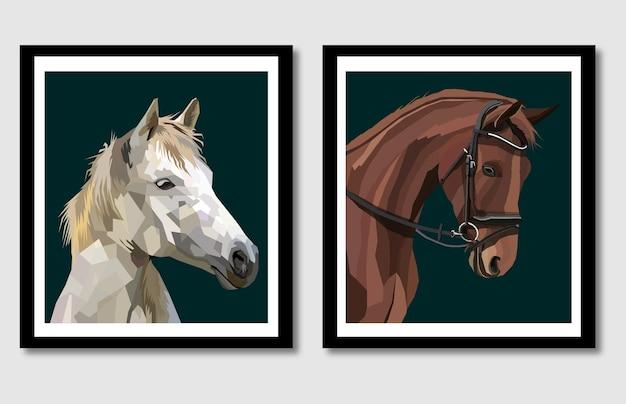 Neue kollektion pferde-pop-art-porträt im rahmen