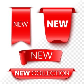Neue kollektion rote verkaufsbanner. aufkleber und band