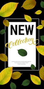 Neue kollektion schriftzug mit grünen blättern. herbstangebot oder verkaufswerbung