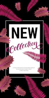 Neue kollektion schriftzug mit lila blättern. herbstangebot oder verkaufswerbung