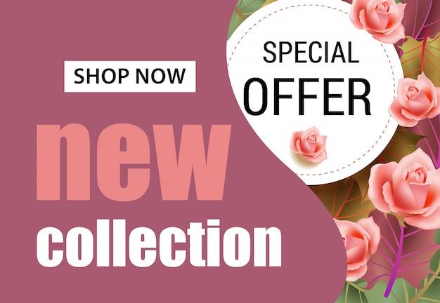 Neue kollektion schriftzug mit rosa rosen. saisonales angebot oder verkaufswerbung