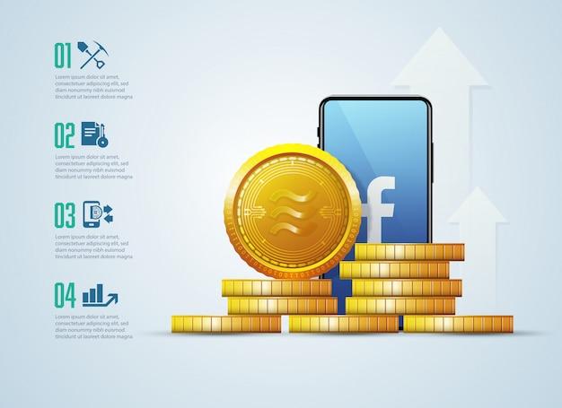 Neue kryptowährung, waage, technologie infografik