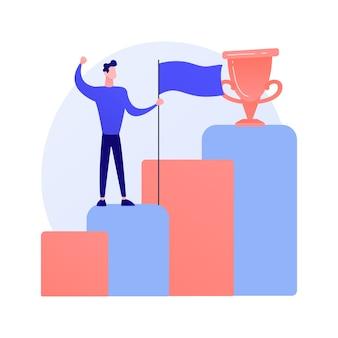 Neue leistung. geschäftsentwicklung. erfolgreicher geschäftsmann, selbstbewusster unternehmer, gewinner mit flagge. mann, der auf steigendem pfeil steht.