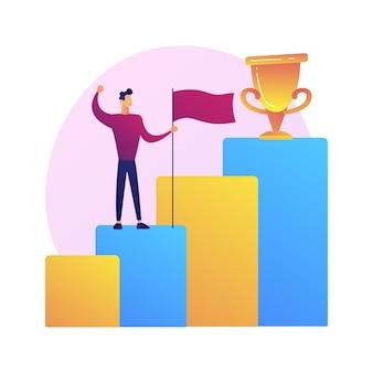 Neue leistung. geschäftsentwicklung. erfolgreicher geschäftsmann, selbstbewusster unternehmer, gewinner mit flagge. mann, der auf steigendem pfeil steht