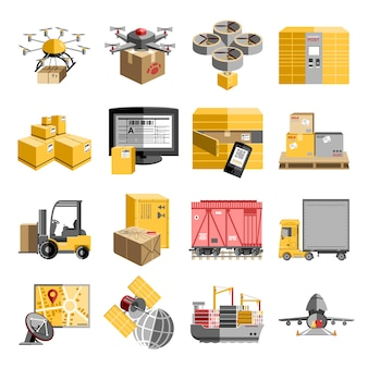 Neue logistische mannlose dezentrale liefersysteme, flache piktogrammsammlung mit fliegender drohne