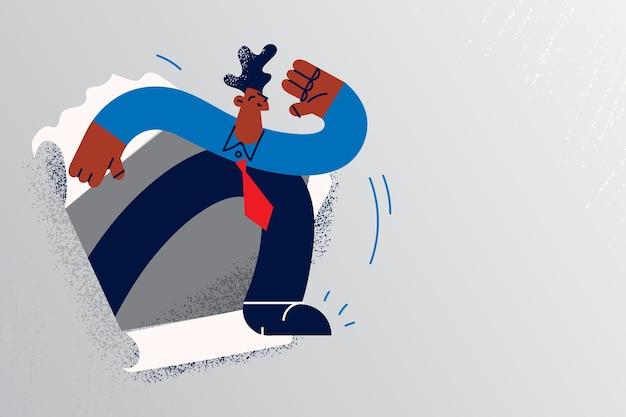 Neue möglichkeiten und geschäftsentwicklungskonzept. junger schwarzer geschäftsmann in krawatte, der von zerrissenem papier zur freiheitsvektorillustration läuft