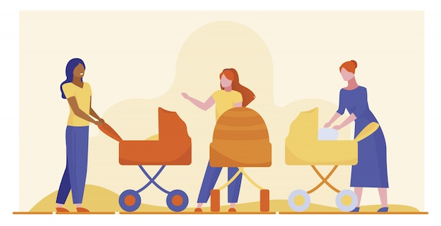 Neue mütter spazieren gehen
