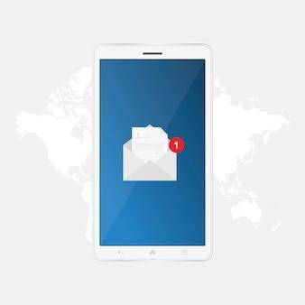 Neue nachricht im schwarzen smartphone auf hintergrundweltkarte, benachrichtigungssymbol.