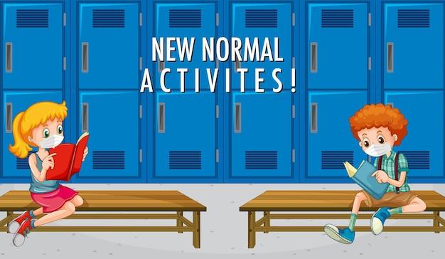 Neue normale aktivitäten mit schülern halten die soziale distanz im klassenzimmer aufrecht