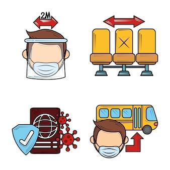 Neue normale coronavirus-covid 19, sichere reise mit maske soziale distanz icons gesetzt