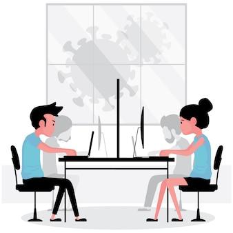 Neue normale funktion bei der arbeit menschen sitzen und arbeiten am computer, während sich zwischen ihnen eine trennwand befindet