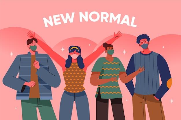 Neue normale gruppe von freunden, die masken tragen