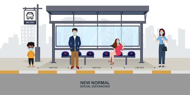 Neue normale illustration: menschen pflegen soziale distanz und tragen in der öffentlichkeit masken