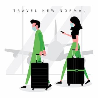 Neue normale reisetrendfunktion mann und frau tragen eine maske, die mit ihrem gepäck auf dem flughafen läuft