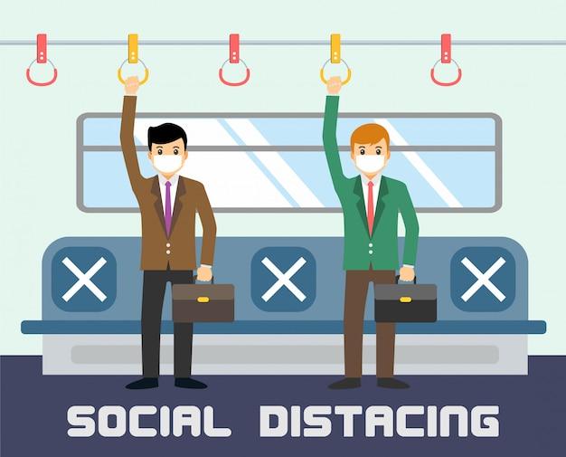 Neue normale, soziale distanzierung im zug