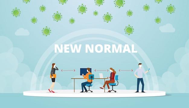 Neue normale work-life-balance-situation im büro mit maske und sozialem distanzkonzept mit moderner flacher stilillustration
