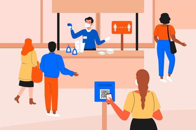 Neue normalität am eingang der einkaufszentren