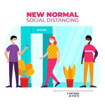 Neue normalität am eingang der geschäfte