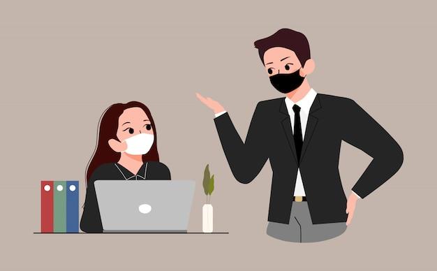Neue normalität bei der bürokonzeptillustration. geschäftsleute diskutieren und tragen mediale maske