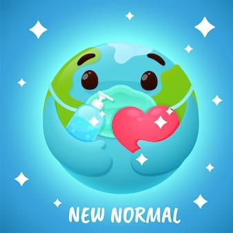 Neue normalität. cartoon globus tragen eine maske und waschen sie ihre hände mit alkohol, um corona-virus zu verhindern.