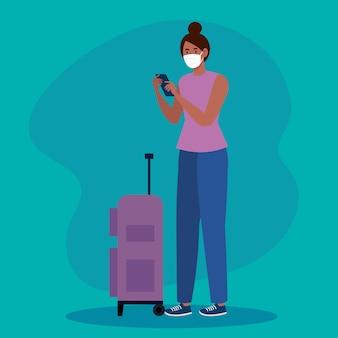 Neue normalität der frau mit maske smartphone und reisetasche design von covid 19 virus und flughafen thema