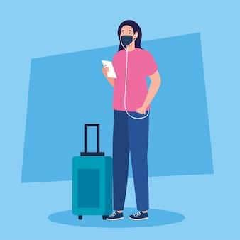 Neue normalität der frau mit maskenticket und reisetaschendesign des covid 19-virus und des flughafenthemas