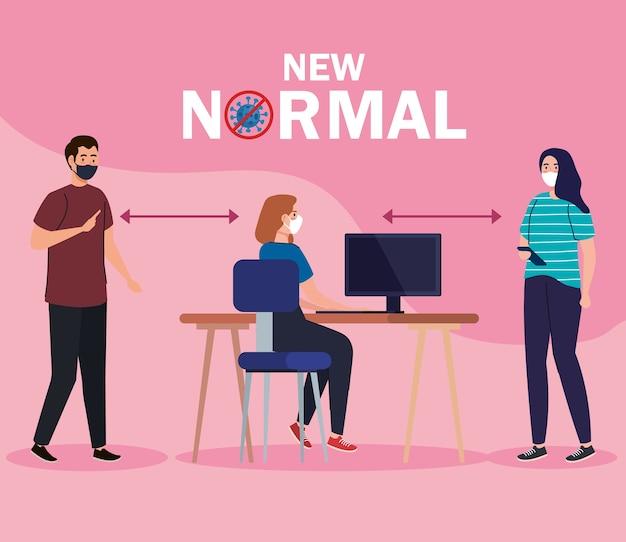 Neue normalität der sozialen distanzierung zwischen mann und frau mit maske am schreibtisch design des covid 19-virus und präventionsthema
