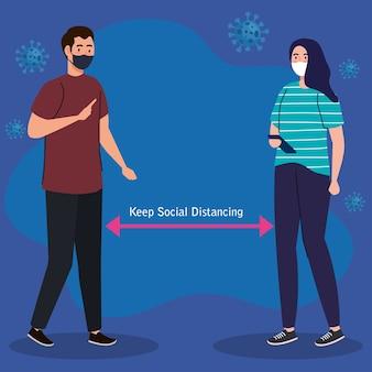 Neue normalität der sozialen distanzierung zwischen mann und frau mit maskendesign des covid 19-virus und präventionsthema