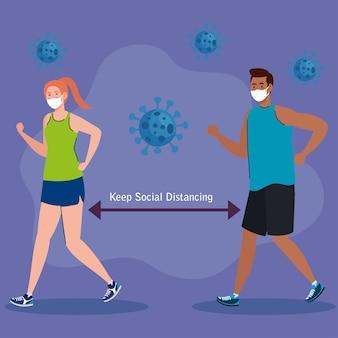 Neue normalität der sozialen distanzierung zwischen mann und frau mit maskenlaufdesign des covid 19-virus und präventionsthema