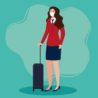 Neue normalität der stewardess mit masken- und reisetaschendesign des covid 19-virus und des flughafenthemas
