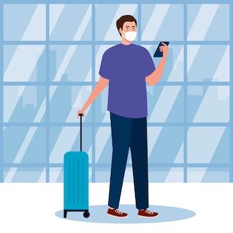 Neue normalität des mannes mit maske smartphone und tasche am flughafen design von covid 19 virus und reisethema