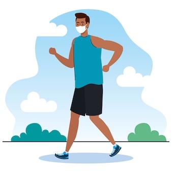 Neue normalität des mannes mit maskenlaufdesign des covid 19-virus und des präventionsthemas