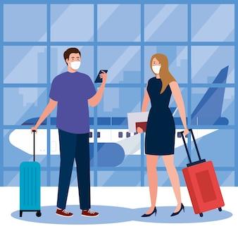 Neue normalität des weiblichen mannes mit masken-smartphone-pass und taschen am flughafendesign des covid 19-virus und des reisethemas