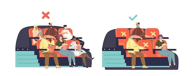 Neue normalität im kino während des ausbruchs von covid-19 mit menschen, die soziale distanz halten und masken zur vorbeugung der coronavirus-krankheit tragen. schutzmaßnahmen zur gesundheitssicherheit. vektor-illustration
