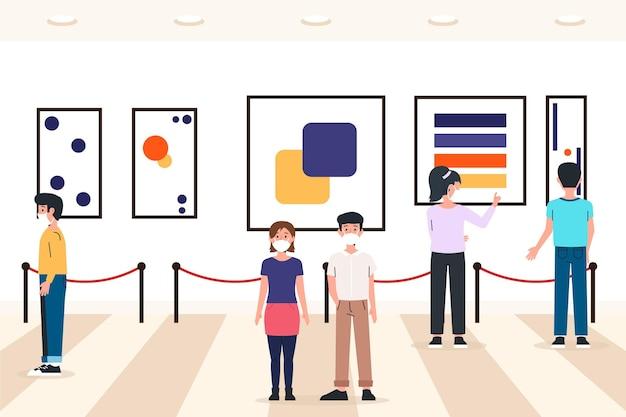 Neue normalität im museum illustriert
